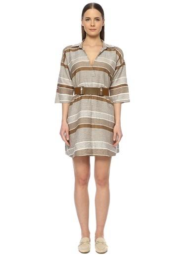 NetWork Kadın 1073690 Regular Fit Çizgili Mini Elbise Camel